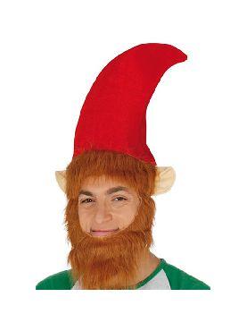 gorro de elfo rojo con barba