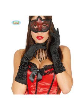 guantes arrugado negro 40 cms