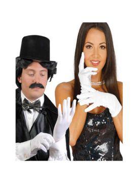 guantes blancos 25 cm cortos adulto