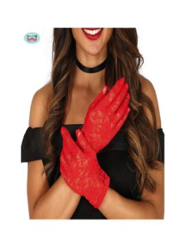 guantes cortos calados rojos 22 cms