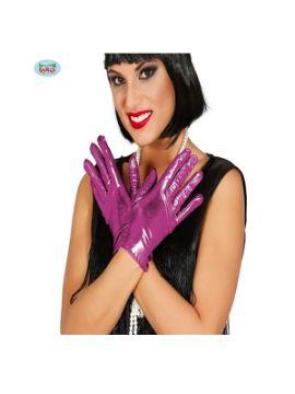 guantes cortos metalizados fucsia 22 cms