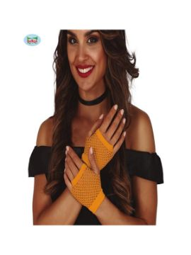 guantes de malla naranja neon 11 cms