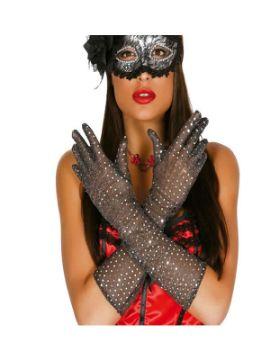 guantes lentejuelas plata 42 cms