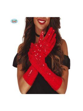 guantes lentejuelas rojos 39 cms