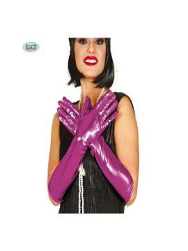 guantes metalizados fucsia 45 cms