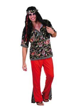disfraz de hippie rojo chico adulto
