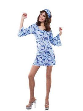 disfraz vestido hippie azul para mujer