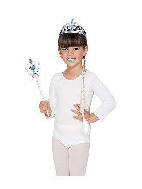 kit de princesa del hielo infantil trenza tiara y varita