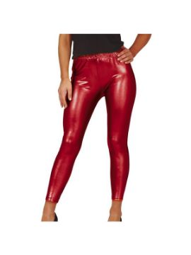 leggins metalizados rojo