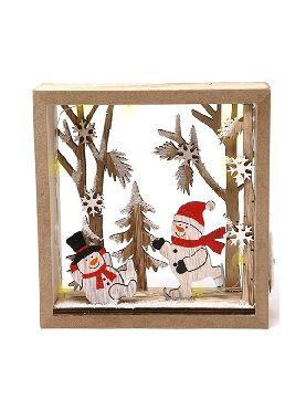 marco con muñeco nieve led 16 cms madera