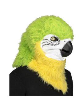 mascara de loro verde con movimiento de mandibula