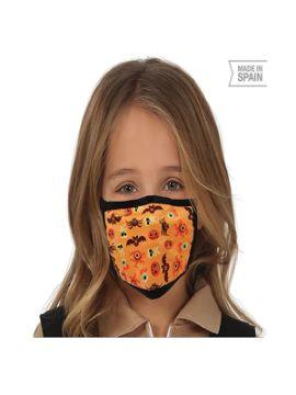 mascarilla de halloween naranja infantil