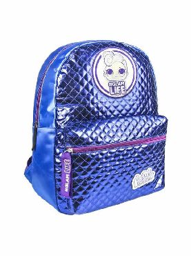 mochila azul metalizada casual de las lol