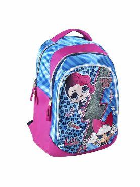 mochila lol escolar rosa 31x47x24cm