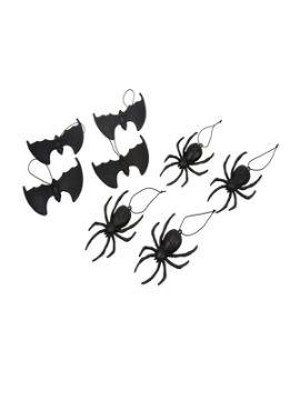 pack 4 arañas y 4 murcielagos colgantes de 14 cm