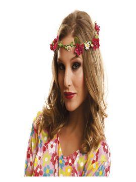pack de 3 coronas de hippie con flores 58 cm