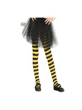 pantys con rayas amarillas negras infantil 5 a 9 años