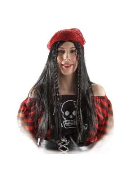 panuelo pirata con trenzas rojo mujer