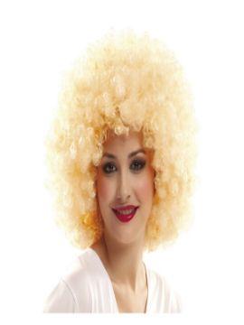 peluca afro años 70 rubia