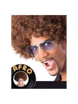 peluca afro gigante marron