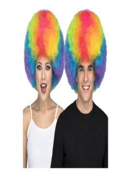 peluca afro multicolor extra grande