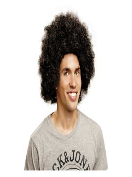 peluca afro negra extra grande