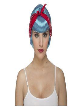 peluca azul pin up con pañuelo