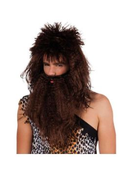 peluca cavernicola con barba marron