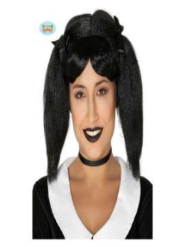 peluca coletas negra con lazo en caja