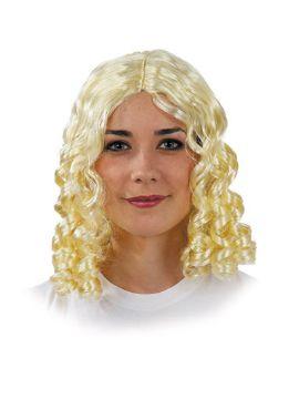 peluca con tirabuzones para mujer clasica blanca