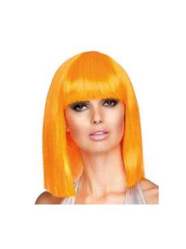 peluca corta con flequillo dance neon naranja