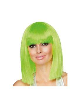 peluca corta con flequillo dance neon verde