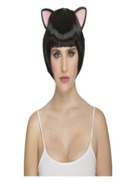 peluca corta negra con orejas de gatita