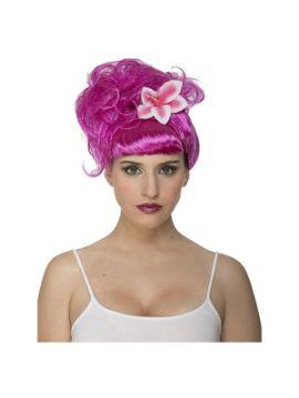 peluca de cantante fucsia recogido con flor
