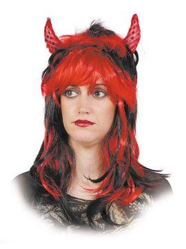 peluca de diabla bicolor roja y morena con cuernos