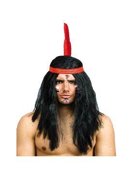 peluca de indio lisa con vicha