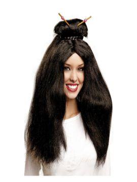 peluca de mujer japonesa con moño