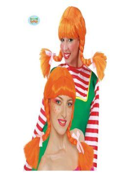 peluca de pipi naranja con coletas adulto
