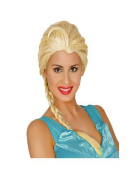 peluca de princesa hielo rubia