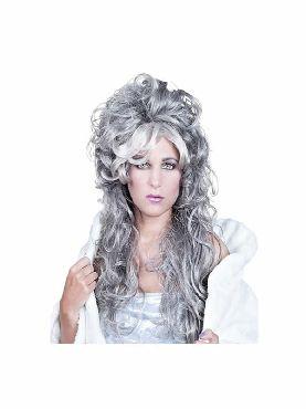 peluca de reina hechicera gris ondulada