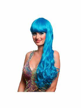 peluca de sirena azul con flequillo