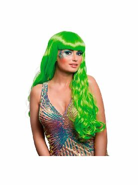 peluca de sirena verde ondulada larga