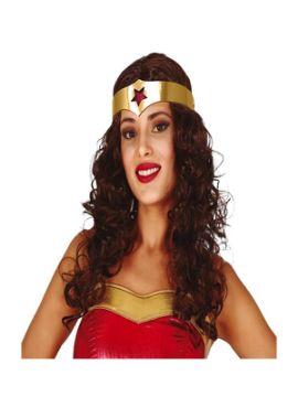 peluca de superheroina con diadema en caja