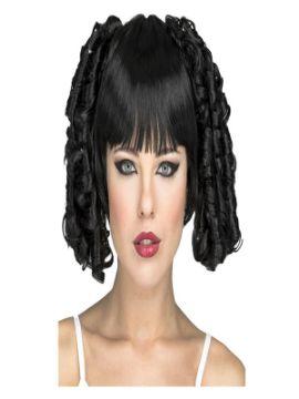 peluca gotica negra con flequillo y tirabuzones