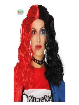 peluca harley quinn con coletas roja y negra