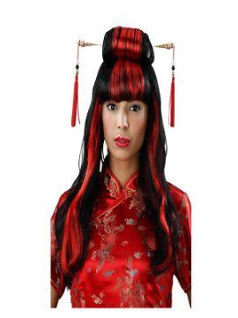 peluca larga asiatica roja y negra