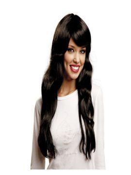 peluca larga fashion negra adulto