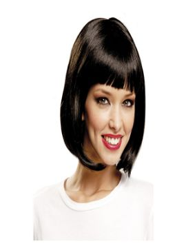 peluca media melena negra con flequillo