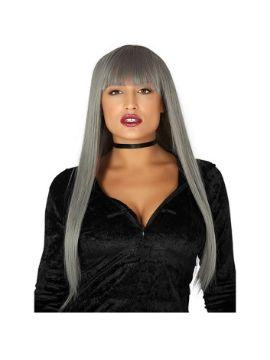 peluca melena gris larga flequillo