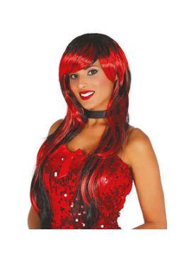 peluca melena roja y negra